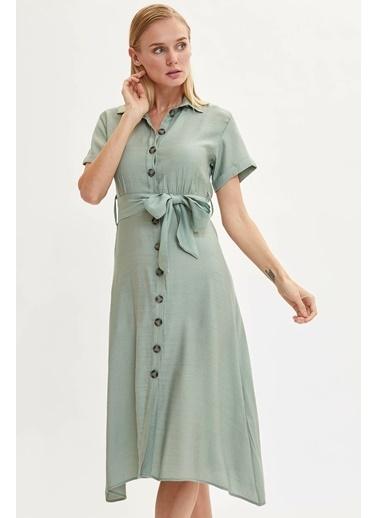 DeFacto Uzun Gömlek Elbise Turkuaz